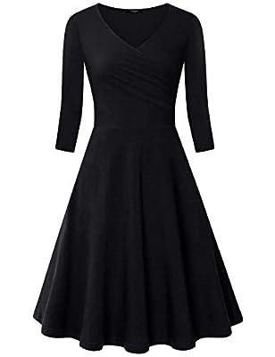 Ckuvysq Women's Cross V Neck Dresses 3/4 Sleeve Flared A Line Dress