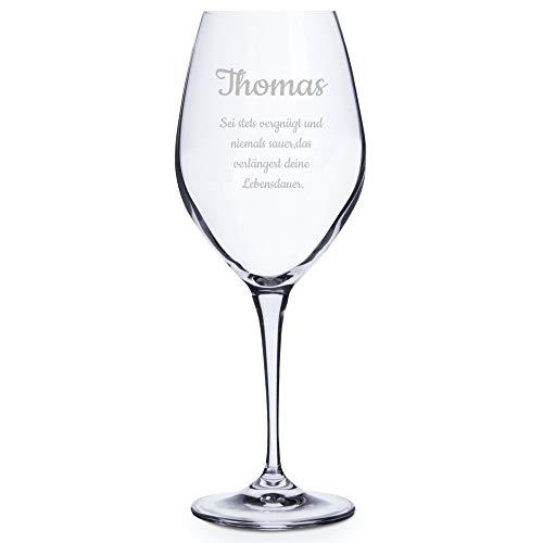 Personello® Weinglas mit Gravur (Motiv Glückwunsch), Weißweinglas mit Name und Spruch graviert (personalisiert), Geschenk für Männer, Frauen (Weintrinker) zum Geburtstag oder Weihnachten