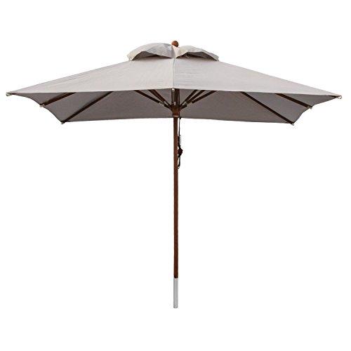 anndora Sonnenschirm, silber grau, 300 x 300 cm quadratisch, Gestell Holz, Bespannung Polyester, 18.5 kg
