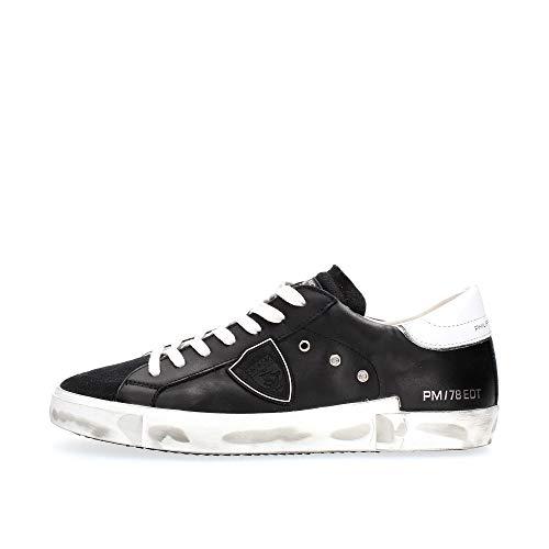 Philippe Model Sneaker Paris X In Pelle E Suede Nero E Spoiler Bianco