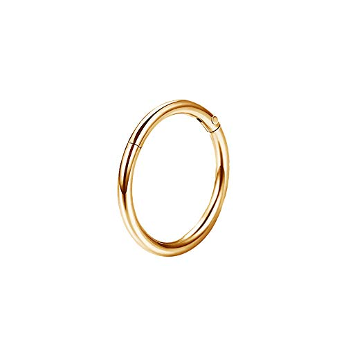 OUFER 18G 316L Stainless Steel Septum Hinged Clicker Segment Lip Nose Hoop Ring Helix Daith Tragus Cartilage Gold 7mm