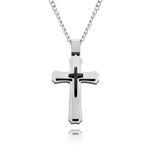 blackbox Jewelry - Cross Necklace (Silver - Silver - Black)