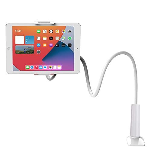 Soporte para tableta Soporte para teléfono portátil Soporte para tableta con clip de brazo flexible 360 y soporte de mesa compatible universal para estudio/trabajo/entretenimiento (negro)
