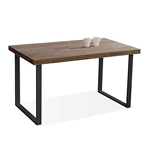 Natural, Mesa de Comedor, Mesa Salon o Cocina Fija Color Roble Boreal y Negro, Medidas: 140 cm (Largo) x 80 cm (Ancho) x 76,5 cm (Alto)