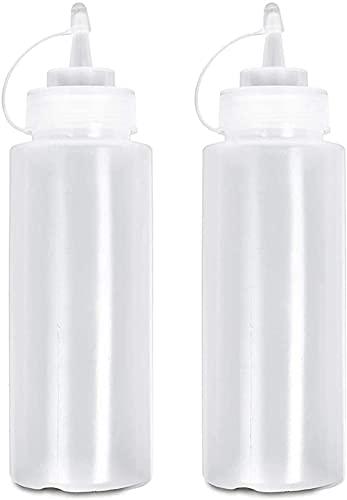 Botellas de condimentos exprimibles de 16 oz, 2 dispensadores de condimentos de 450 ml para condimentos, mayonesa, mostaza, salsa picante y aceite de oliva, color blanco