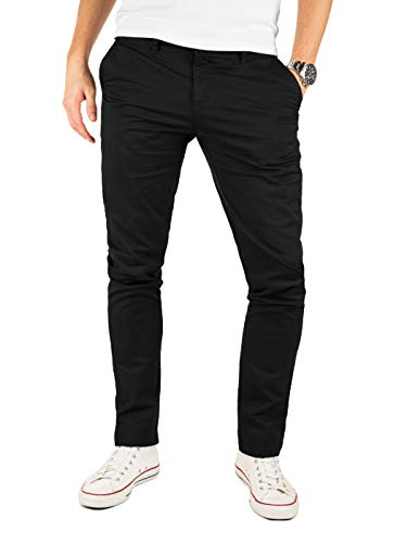 Yazubi Chino Hose Herren - Modell Kyle by Yzb Jeans schwarz - Braune Business Schwarze Chinohose Männer Stretch, Schwarz (Black 4R194008), W34/L32