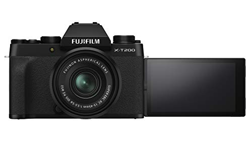 Fujifilm X-T200 24.2 MP Mirrorless Camera with XC 15-45 mm Lens (APS-C Sensor, Electronic Viewfinder, Vari-Angle LCD Touchscreen, Face/Eye AF, 4K Video Vlogging, Film Simulations) - Black