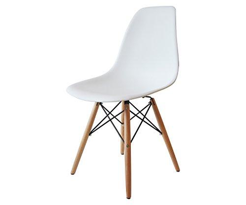 Sedia moderna da cucina o soggiorno con seduta in polipropilene bianca e gambe in legno di faggio Colombina