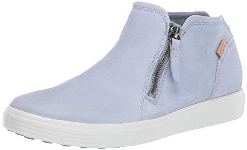 ECCO Women's Soft 7 Low Bootie Sneaker, Dusty Blue Nubuck, 10-10.5