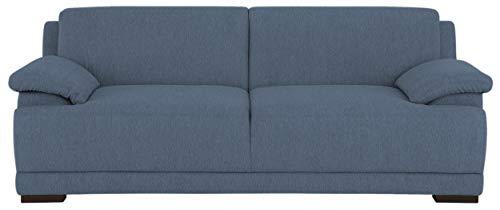 DOMO. collection Telos 3er Boxspringsofa, Sofa mit Boxspringfederung, Zeitlose Couch mit Breiten Armlehnen, blau