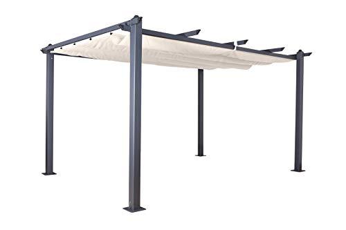 Jet-line Pavillon Pergola Überdachung \'Luxor 4 x 3 m anthrazit-beige UV Beschattung Terrasse Garten Sonnenschutz Sonnendach Aluminium