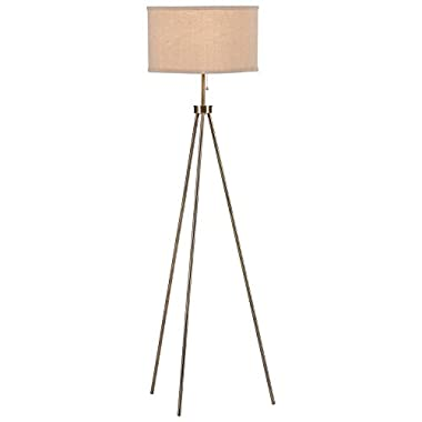 Rivet Minimalist Tripod Floor Lamp with Bulb, 15  x 15  x 58.25 , Antique Brass