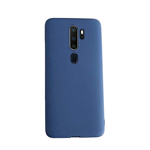 Henxunton Funda para OPPO A5 2020,A9 2020, Liquida Silicona Carcasa Suave Funda Case Cover para OPPO A5 2020,A9 2020 Smartphone (Azul)