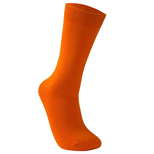 Vkele einfarbig Socken, Perfekt als Geschenke, bunt Herrensocken, Baumwolle, Crew Socken Orange, 43 44 45 46, 1 Paar