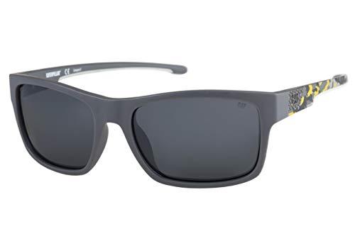 Caterpillar Men's Coder Polarized Sunglasses Square, Solid Matte Gray/Yellow Camo, 60 mm
