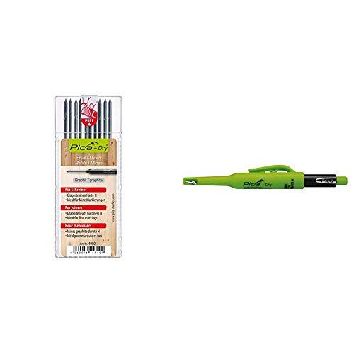 Pica 4050 10 Minen Dry Pack Graphit H (mit Blister), Stück & Tieflochmarker Dry Longlife, langlebiger Marker mit Spitzer und Halteclip, Spezial-Graphitmine 2.8 mm ,grün, Art.-Nr. 3030.0