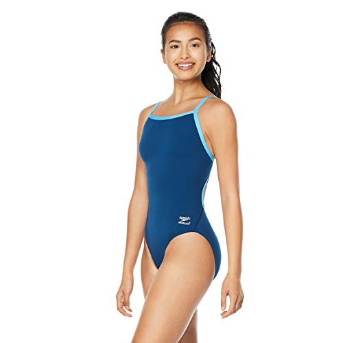 Speedo Women's Swimsuit One Piece Endurance+ Flyback Solid Adult Team Colors, Navy/Blue, 34
