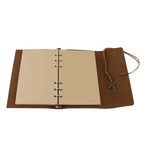 P Prettyia Cuaderno de Diario Retro Cubierta de Cuero PU Diario de Viajes Lindos Cuaderno Creativo con Páginas Sueltas A6, 18.5x12.5cm - Rojo marrón