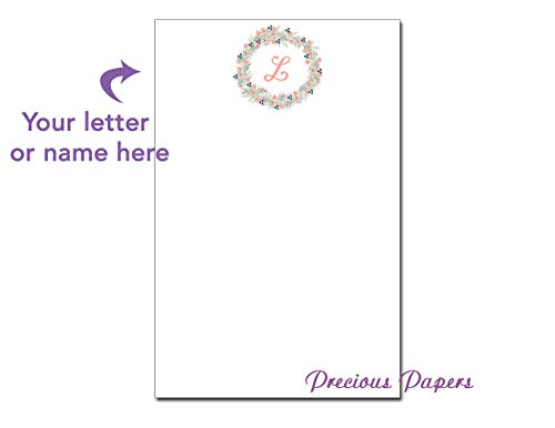 Personalized monogram notepad makes a great gift monogram notes, wreath notepad housewarming gift, wedding gift