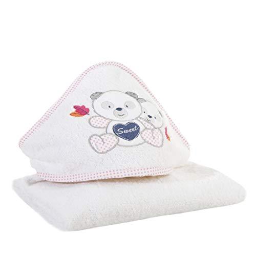 Design91 Baby Babyhandtuch Kapuze Weiß Rosa Handtücher Kinderhandtuch Kindermotiv Teddybär Teddy Mädchen Badezimmer Weich Süß Kuschelig, 75x75 cm