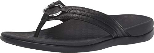 Vionic Women's Tide Aloe Toe-Post Sandal - Ladies Flip- Flop with Concealed Orthotic Arch Support Black Leather 9 Medium US