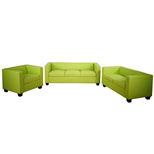 Mendler 3-2-1 Sofagarnitur Couchgarnitur Loungesofa Lille ~ Kunstleder, hellgrün, 2.Wahl