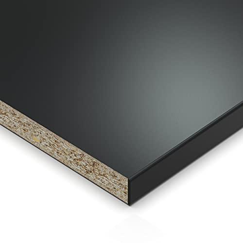 AUPROTEC Einlegeboden Regalboden 19 mm Holz Zuschnitt nach Maß Größe bis max 1000 mm breit x 800 mm tief melaminharzbeschichtet mit Umleimer ABS Kante: Farbe schwarz