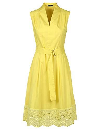 APART, ärmelloses Damen Kleid, aus leicht raschelnder Baumwolle im Farbton Gelb, mit breitem Saum aus Loch-Spitze, Yellow, 44