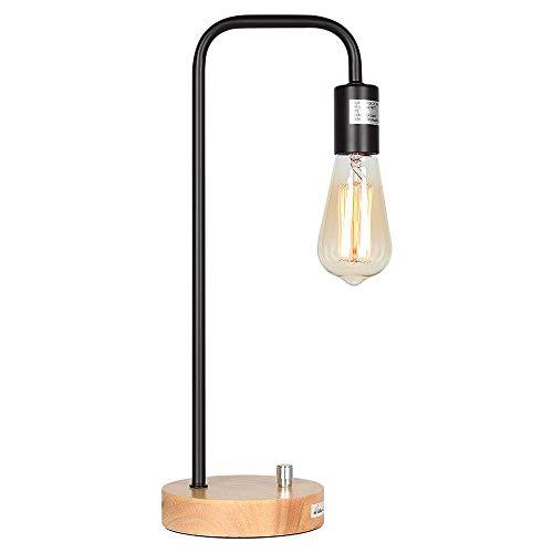 Lámpara de Mesilla Industrial Lámpara de Escritorio Marco de Metal Negro con Base de Madera (sin Bombilla)