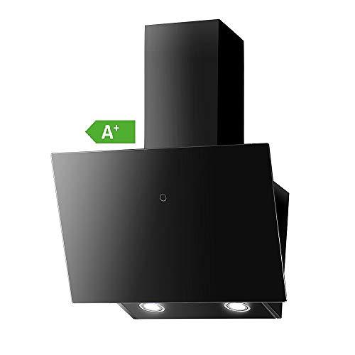 VLANO MELIA Plus EEK A+ Kopf-freie Dunstabzugshaube Glas Design/Touch Control/ECO LED/Extra leiser Brushless Motor/Abluft/Umluft (Melia Plus 60 cm, schwarz)