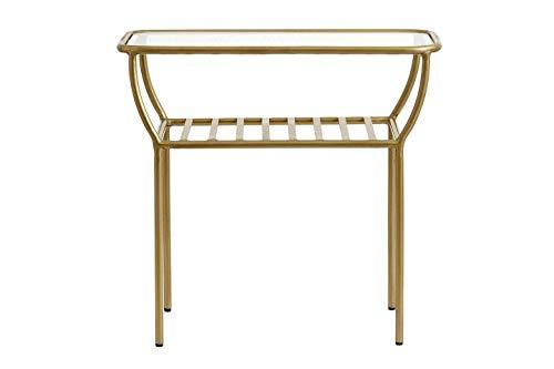 Nordal Beistelltisch Chic Farbe Gold   Kleiner Tisch mit zwei Etagen