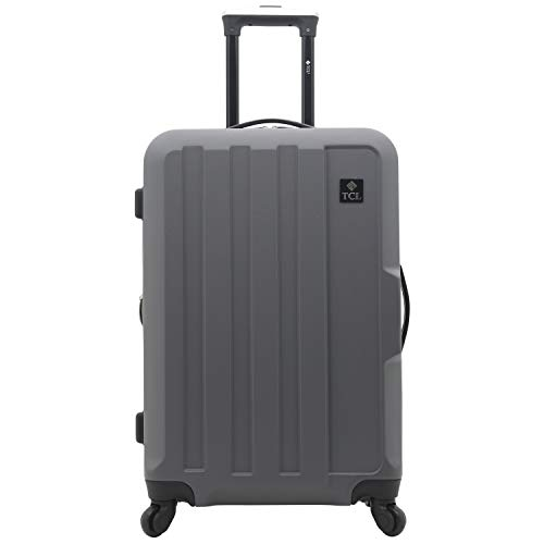 Travelers Club Expandable Spinner Hardside Luggage Set, Charcoal, 20-Inch