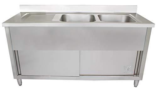 Beeketal 'GSB160-Duo' Edelstahl Spülschrank mit 2 Spülbecken (rechts) und Abtropffläche (links), Unterschrank mit Rollentüren, Aufkantung und justierbaren Stellfüßen, (B/T/H): ca. 1600 x 600 x 940 mm