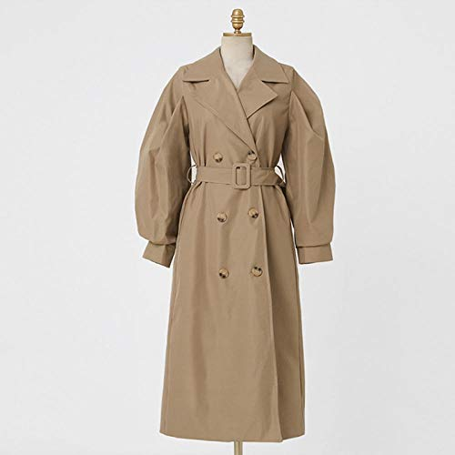 Wuyuana Abrigo para mujer, estilo casual, largo, con doble botonadura, para cinturón, gabardina, abrigos para mujer (color: caqui, tamaño: mediano)