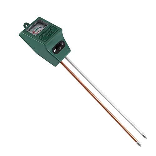 Monllack Higrómetro de Suelo, 2 en 1 Higrómetro de Suelo Probador de Suelo de sonda Doble Herramienta de probador de medidor de Intensidad de luz de pH de Suelo de Humedad de jardín (Verde)