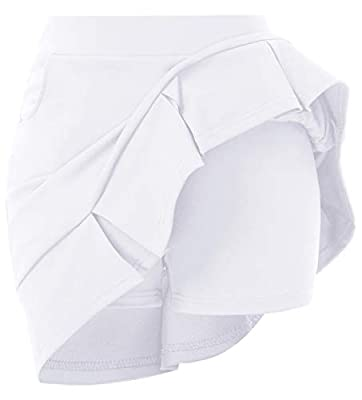 GRACE KARIN Women's Workout Active Skorts Sports Tennis Golf Skirt with Pockets White