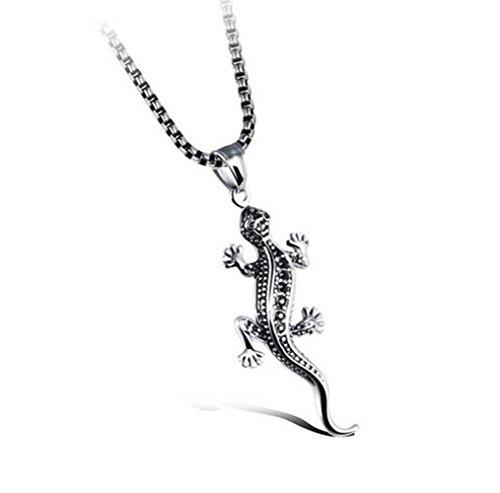 Gudeke Edelstahl Titan 3D Gecko Eidechse Echsen Anhänger Halskette Herren Männer Kette