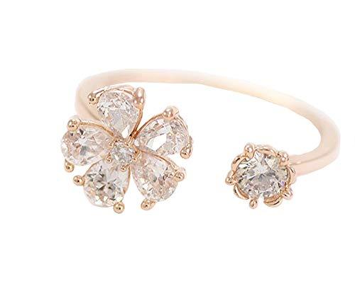 Carry stone Frauen Ring Blume Kristall Diamant Offenen Ring Bend Größe Einstellbare Offene Ringe Hochzeit Schmuck Für Dame Mädchen Geburtstag Rose Gold Hohe Qualität