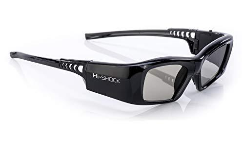 Hi-SHOCK 3D-BT Pro 'Black Diamond' | Gafas 3D inteligentes para 4K / Full HD / HDR / 3D TV's de Sony, Samsung, Panasonic, Sharp, Toshiba, LG Plasma, Hisense (2012-2018*) | compatibles con SSG-3570 CR / TDG-BT500A / AN3DG35 / TY-ER3D5ME / FPT-AG04 / AG-S350 / FPS3D08 | optimiza la nitidez, brillo y contraste | incluye una extensa gama de accesorios + cobertura de garantía de 3 años [Gafas de obturador | 120 Hz | recargables | 39 g | Bluetooth | Negro]