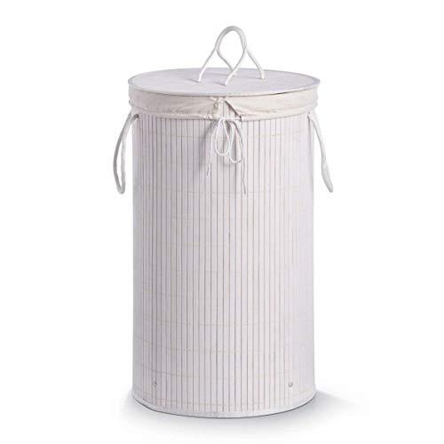 Zeller 13412 Wäschesammler, Bamboo ø 35 x 60 cm, weiß