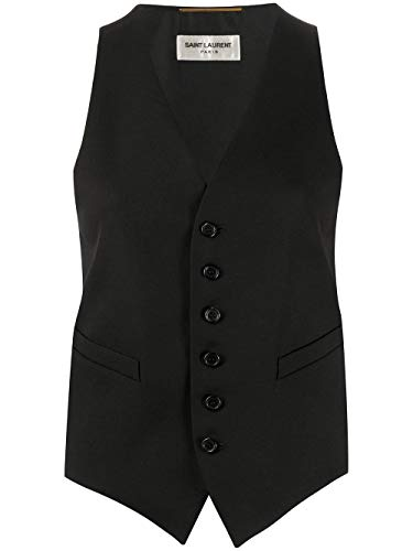 Luxury Fashion | Saint Laurent Dames 621210Y512W1000 Zwart Wol Gilets | Lente-zomer 20