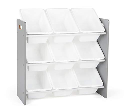 "Humble Crew, Grey/White Toy Organizer, 9 Bin Storage, 24"" Tall"