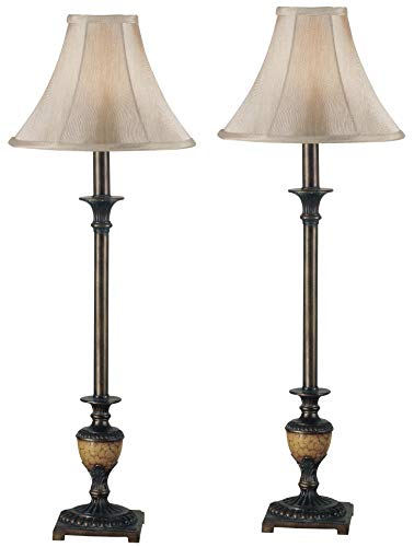 Mejor Elegant Designs LC2000-GRY-2PK 2 Pack Modern Leather Table Lamps with White Fabric Shades, Gray crítica 2020