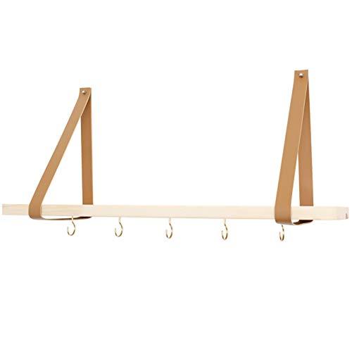 LZPQ Hyllor med läderband, vägghylla, förvaringsställ för kök, vardagsrum, sovrum, dekorativa trävägghyllor