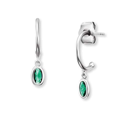 Engelsrufer Damen Creolen Silber Joynature aus 925er Sterlingsilber mit grünen Zirkonia Steinen für Damen - hochwertige Steckcreolen inkl. Schmuckverpackung