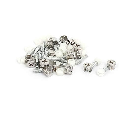 X-DREE Möbelverschraubungen Verbindungsschrauben Nocken - Dübelmuttern Silver Tone 18 Sets (248cea77dd3a9872de1720d5fbdd7343)