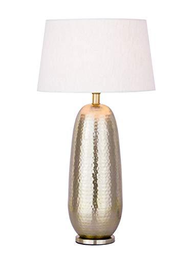 Tischlampe Tischleuchte ø 30 x H 56 cm Nachttischlampe Metall Dekolampe Metall Sockel silber/gold Farbe gold
