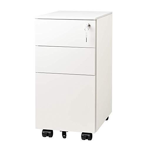 DEVAISE Metall Rollcontainer Aktenschränke Büro-Rollcontainer Bürocontainer mit 3 Schublade für A4; Mobilen, Abschließbar, 30cm B x 43,5cm T x 60cm H, Weiß