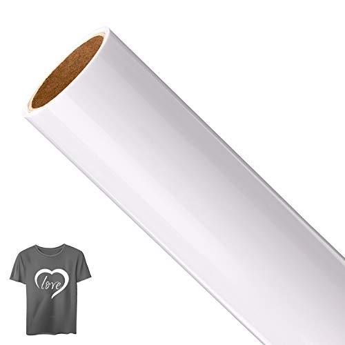 AIEX 1 Roll Vinyl Transfer, Heat-On Heat Transfer para camiseta, sombreros, ropa, prensa de calor, sublimación artesanal (blanco, 12 pulgadas x 5 pies)