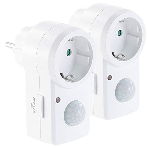revolt Steckdose mit PIR-Sensor: 2er-Set Steckdosen mit PIR-Bewegungsmelder, je 1.200 W Schalt-Leistung (Bewegungsmelder-Steckdose innen)